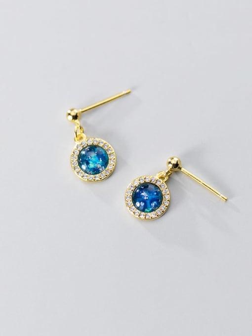 Rosh 925 Sterling Silver Cubic Zirconia Blue Geometric Minimalist Stud Earring 3