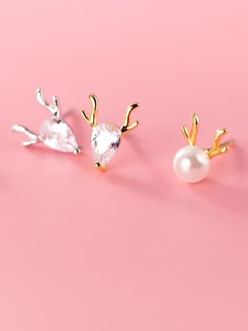 Rosh 925 Sterling Silver Cubic Zirconia Deer Cute Stud Earring