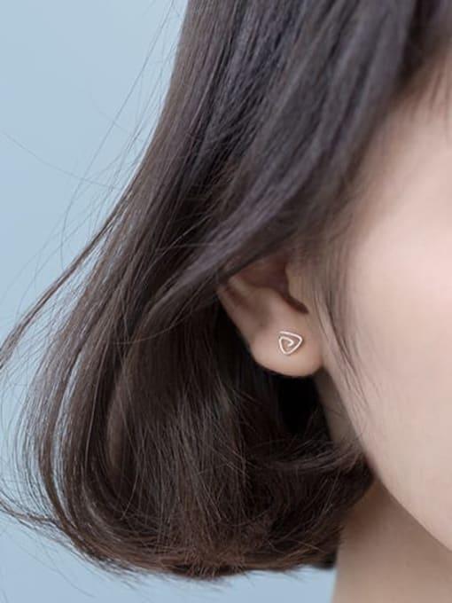 Rosh 925 sterling silver hollow  triangle minimalist stud earring 1
