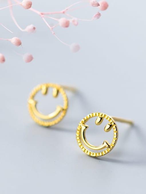 Rosh 925 Sterling Silver  Minimalist  Simple golden smiley Stud Earring 2