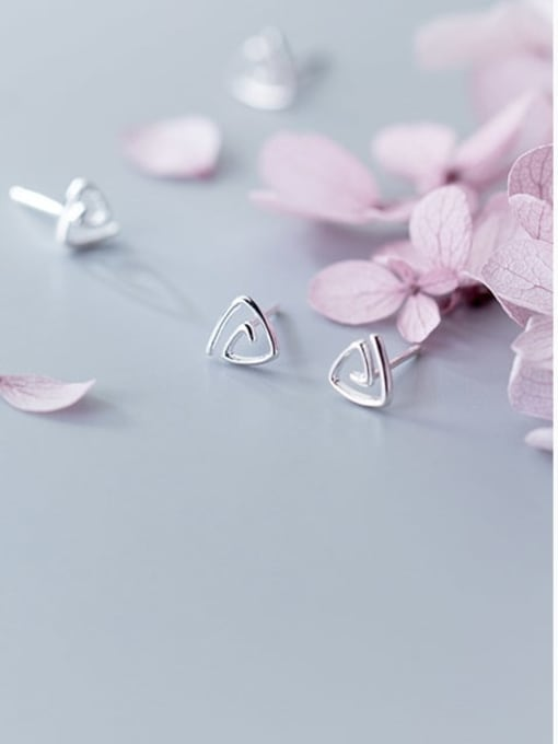 Rosh 925 sterling silver hollow  triangle minimalist stud earring 2
