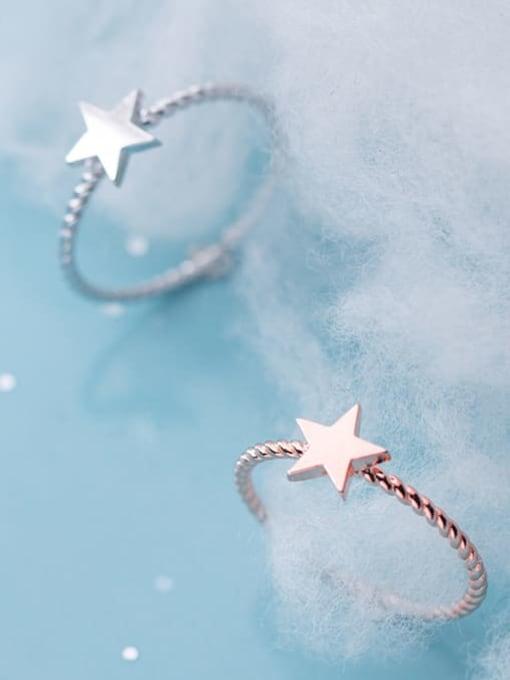 Rosh 925 Sterling Silver Minimalist Fashion pentagram couple Midi Ring 2