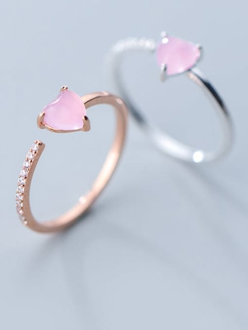 Rosh 925 Sterling Silver Crystal Pink Heart Minimalist Band Ring