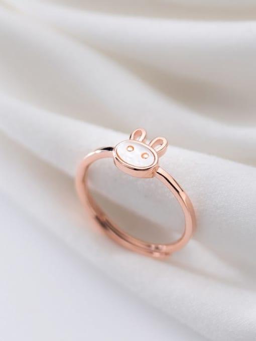 Rosh 925 Sterling Silver  Cute  Fashion cute shell rabbit free size Ring 2