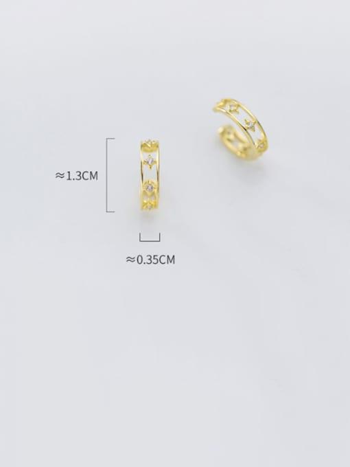 Rosh 925 Sterling Silver Cubic Zirconia  Flower Minimalist Clip Earring 4