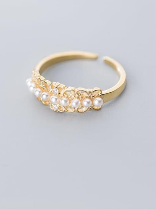 Rosh 925 Sterling Silver Imitation Pearl White Irregular Cute Free Size Ring 1