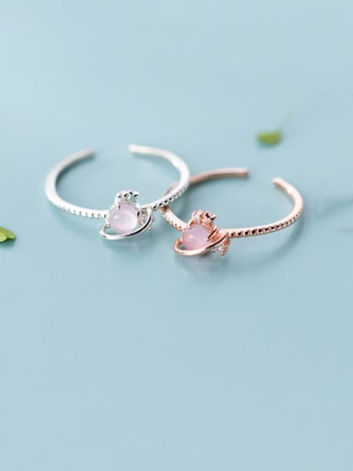Rosh 925 Sterling Silver Resin Pink Heart Minimalist Synthetic Crystal  Band Ring 0