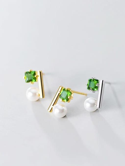Rosh 925 Sterling Silver Cubic Zirconia Green Square Minimalist Stud Earring 2