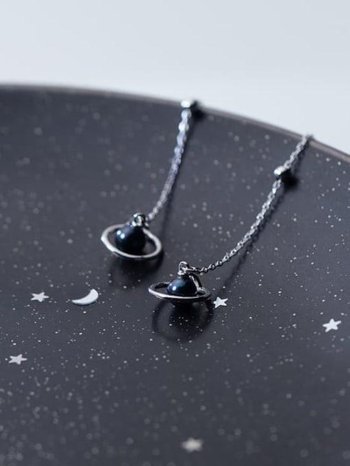 Rosh 925 Sterling Silver Imitation Pearl Black Tassel Minimalist Threader Earring 2
