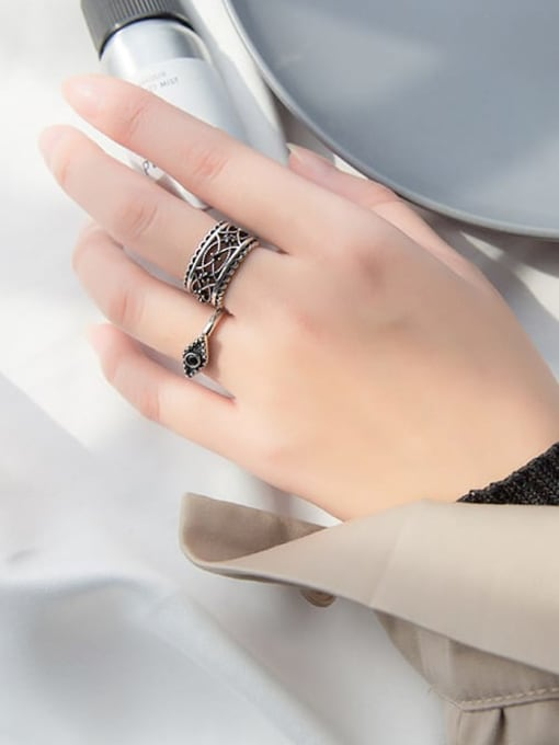 Rosh 925 Sterling Silver Punk style carved black diamond Hollow Pattern Free Size Ring 3