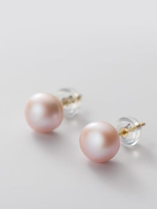 Purple Pearl Earrings Gold 8 9mm 925 Sterling Silver Freshwater Pearl  Round Minimalist Stud Earring