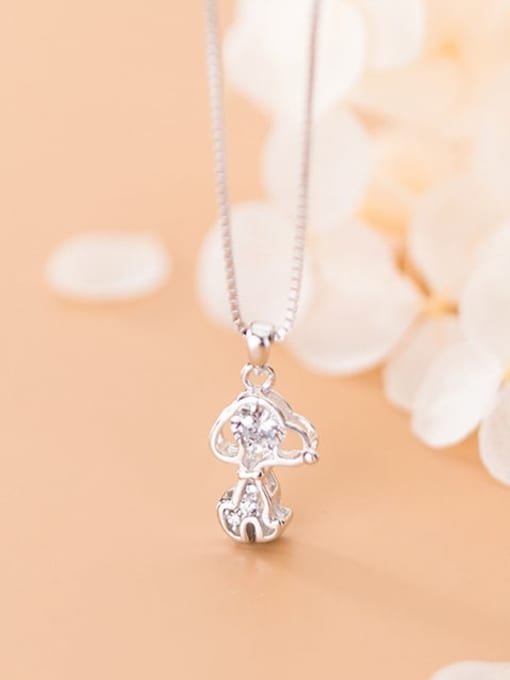 Rosh 925 Sterling Silver Cubic Zirconia Cute Dog Charm Necklace 1