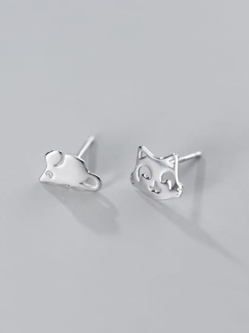 Rosh 925 Sterling Silver Minimalist  Cat mouse Asymmetry Stud Earring 2