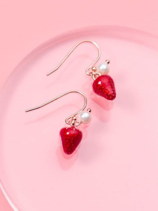Rosh 925 Sterling Silver Imitation Pearl Friut  Strawberry Minimalist Hook Earring 1