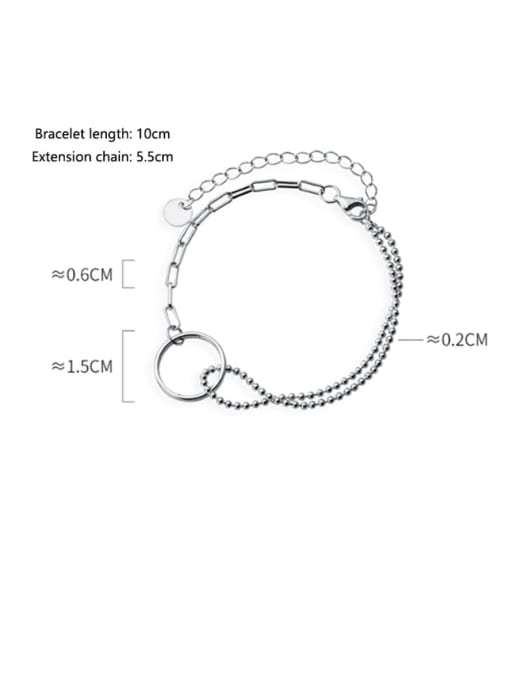 Rosh 925 Sterling Silver  Vintage Ring Unilateral Double Bead chain Beaded Bracelet 3