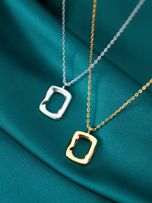 Rosh 925 Sterling Silver Simple glossy hollow geometric pendant Necklace