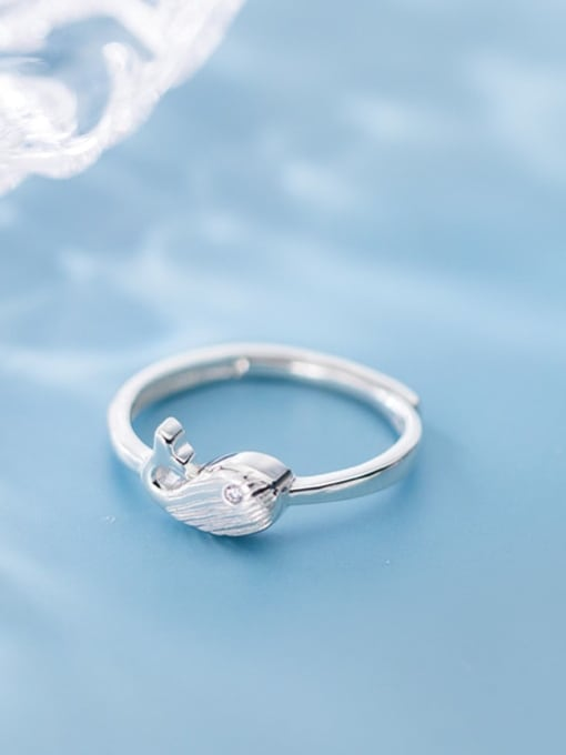 Rosh 925 sterling silver fish minimalist free size ring 0