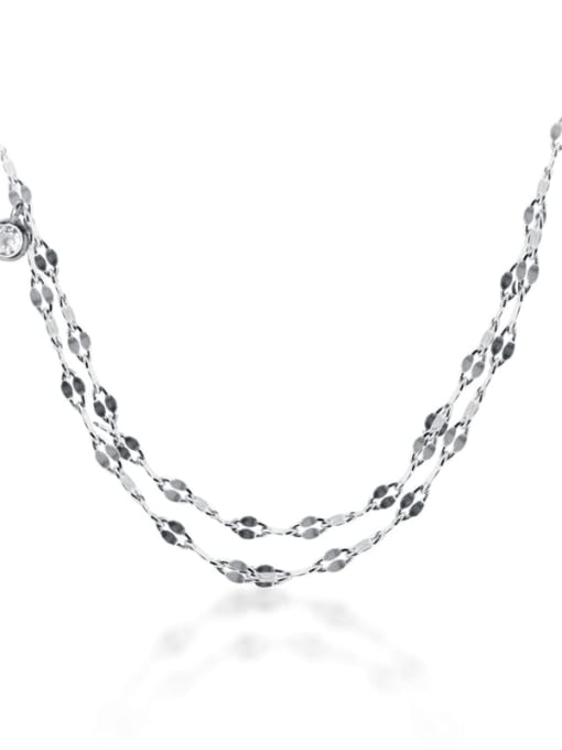 Rosh 925 Sterling Silver Minimalist Multi  Chain Strand Necklace