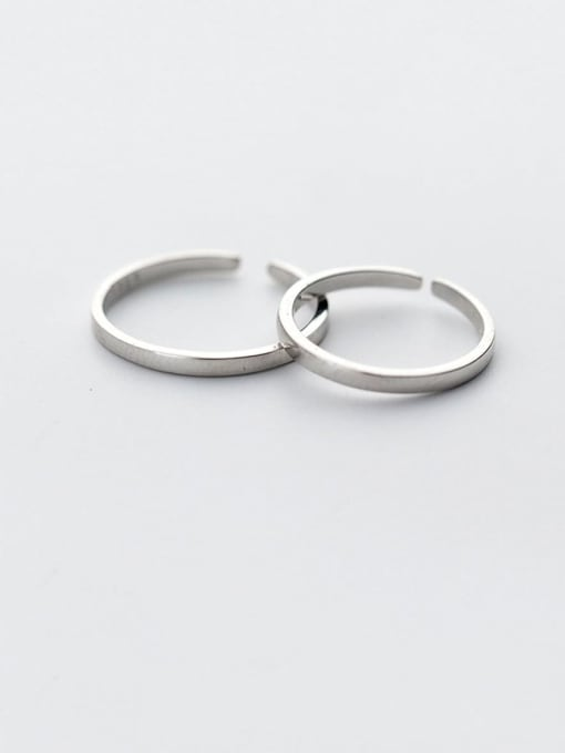 Rosh 925 Sterling Silver  Minimalist Smooth Round Free Size Ring