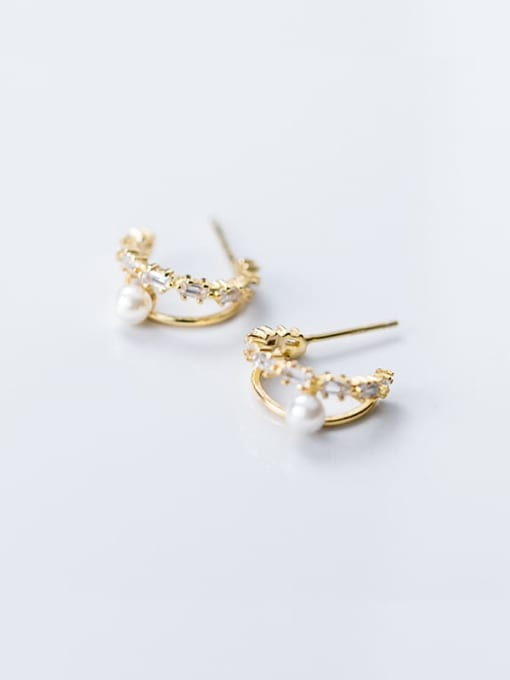 Rosh 925 Sterling Silver Imitation Pearl Double C-shaped trend study Earring 2
