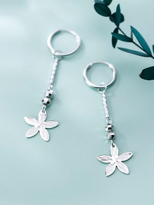 Rosh 925 Sterling Silver Smooth Bead Flower Vintage Huggie Earring
