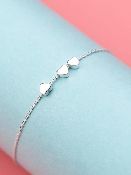 Rosh 925 Sterling Silver Smooth Heart Minimalist Link Bracelet 3
