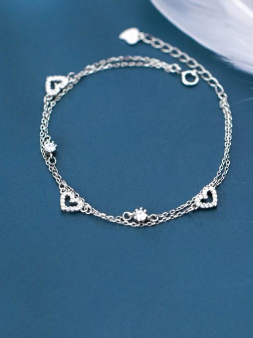 Rosh 925 Sterling Silver Minimalist  Hollow Heart Strand Bracelet