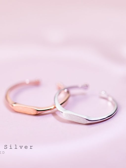 Rosh 925 Sterling Silver Smooth Geometric Minimalist Free Size Midi Ring 0