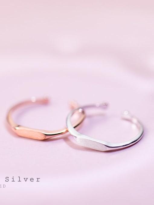 Rosh 925 Sterling Silver Smooth Geometric Minimalist Free Size Midi Ring