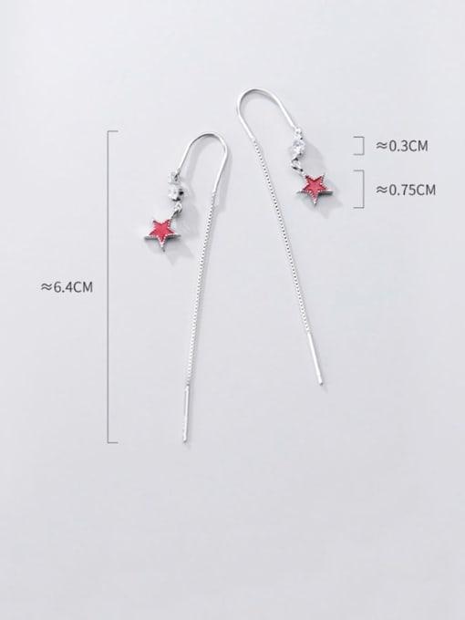 Rosh 925 Sterling Silver Cubic Zirconia  Minimalist Star Threader Earring 1