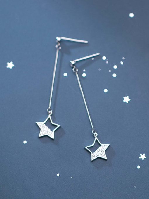 Rosh 925 Sterling Silver Star Minimalist   Threader Earring 0