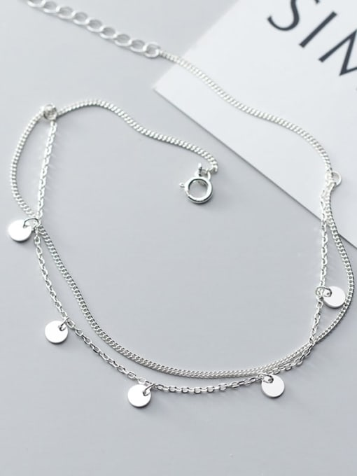 Rosh 925 Sterling Silver Round Minimalist Double layer  Anklet 3