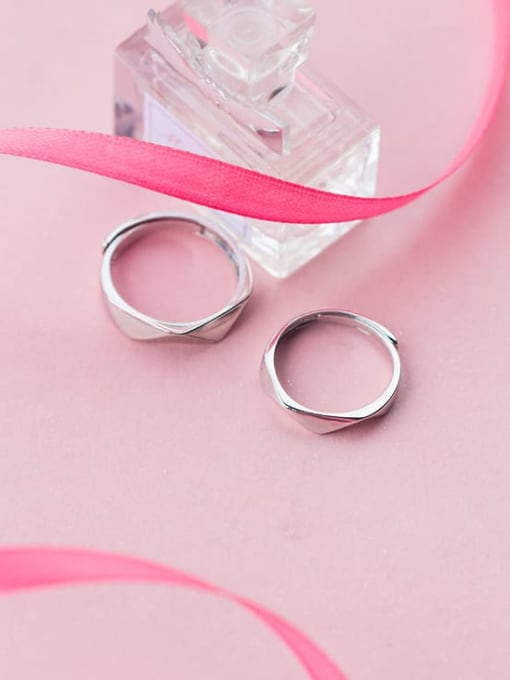 Rosh 925 Sterling Silver Smooth Geometric Minimalist Couple Ring 2