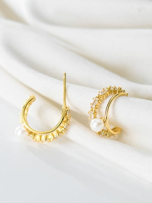Rosh 925 Sterling Silver Imitation Pearl Double C-shaped trend study Earring 0