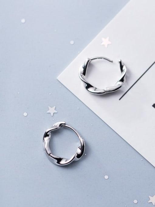 Rosh 925 Sterling Silver Hollow  Round Minimalist Huggie Earring 1