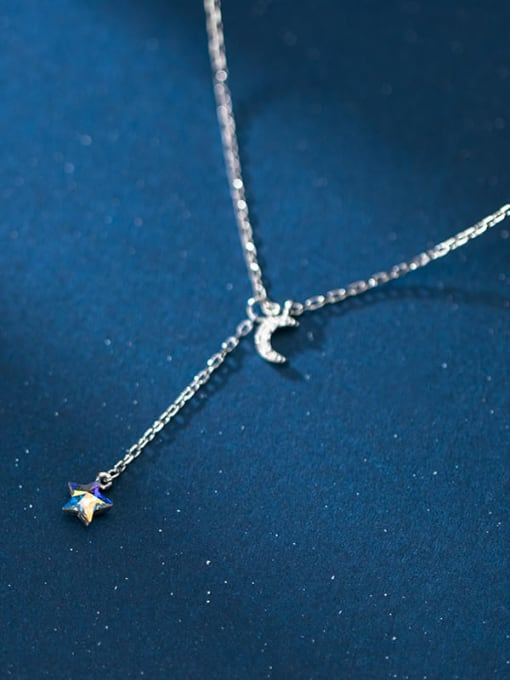 Rosh 925 Sterling Silver  Minimalist Fashion  Diamond  Moon  Lariat Necklace