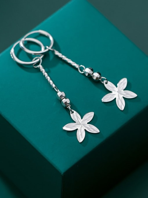 Rosh 925 Sterling Silver Smooth Bead Flower Vintage Huggie Earring 1
