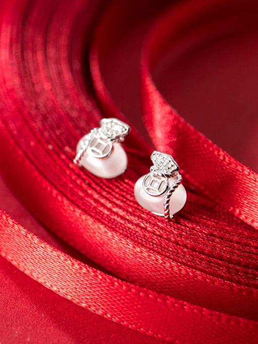 Rosh 925 Sterling Silver Cats Eye White Irregular Classic Stud Earring 1