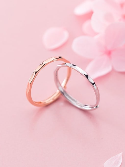 Rosh 925 Sterling Silver Round Minimalist  Free Size Band Ring 2