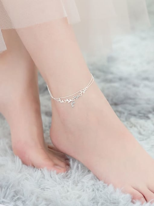 Rosh 925 Sterling Silver  Irregular Minimalist Double layer  Anklet 2