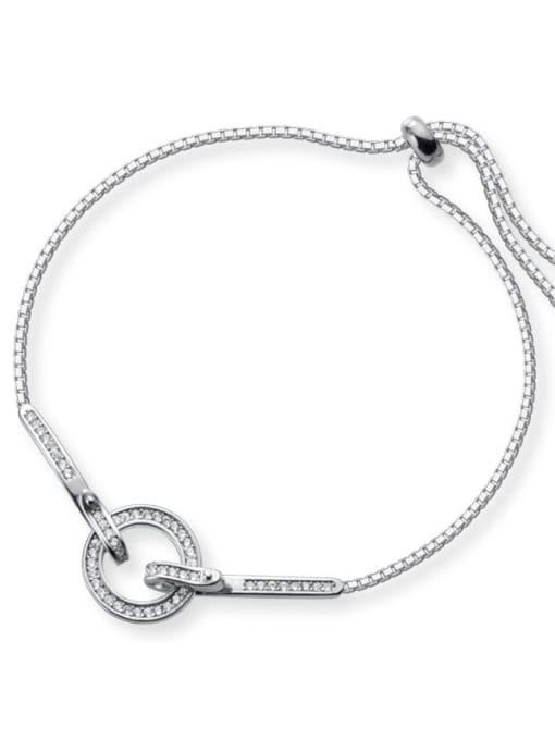 Rosh 925 Sterling Silver Fashion Micro Inlay Row Diamond Round Bracelet Bracelet