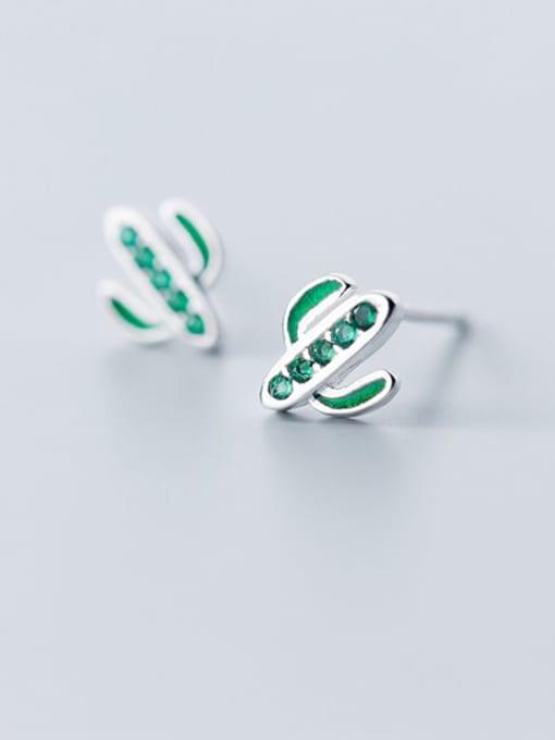 Rosh 925 Sterling Silver Rhinestone Flower Minimalist Stud Earring