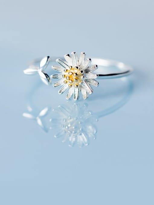 Rosh 925 Sterling Silver Flower Minimalist Band Ring