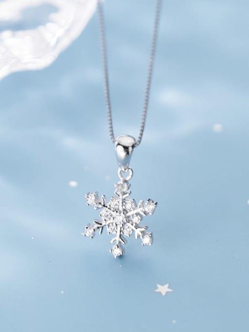 Rosh 925 Sterling Silver Simple snowflake diamond pendant 2