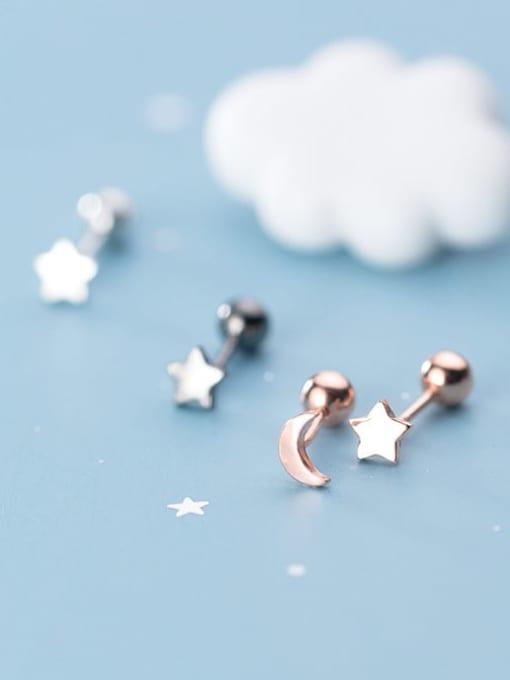 Rosh 925 Sterling Silver  Minimalist Asymmetric stars moon Stud Earring 3
