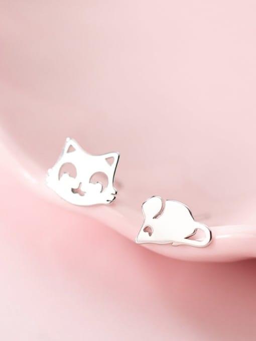 Rosh 925 Sterling Silver Minimalist  Cat mouse Asymmetry Stud Earring 0