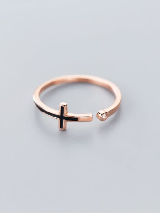 Rosh 925 Sterling Silver  Minimalist  Cross Free Size Ring 2