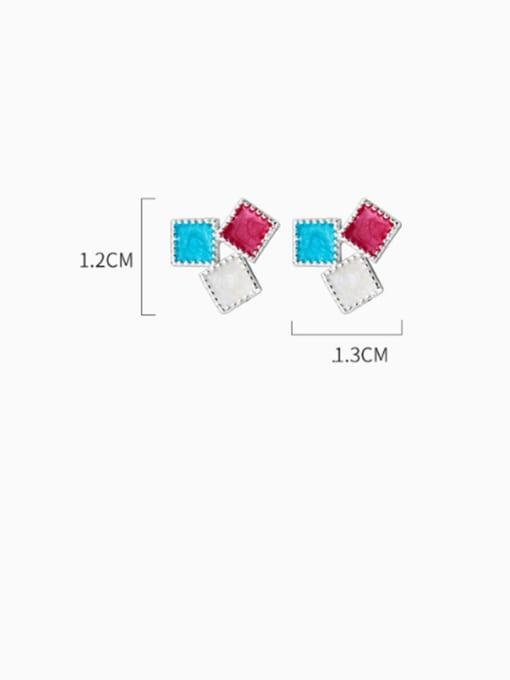 Rosh 925 Sterling Silver Multi Color Enamel Square Minimalist Stud Earring 3