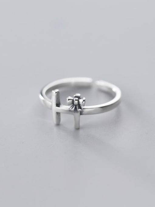 Rosh 925 Sterling Silver Cross Vintage Free Size Ring 2