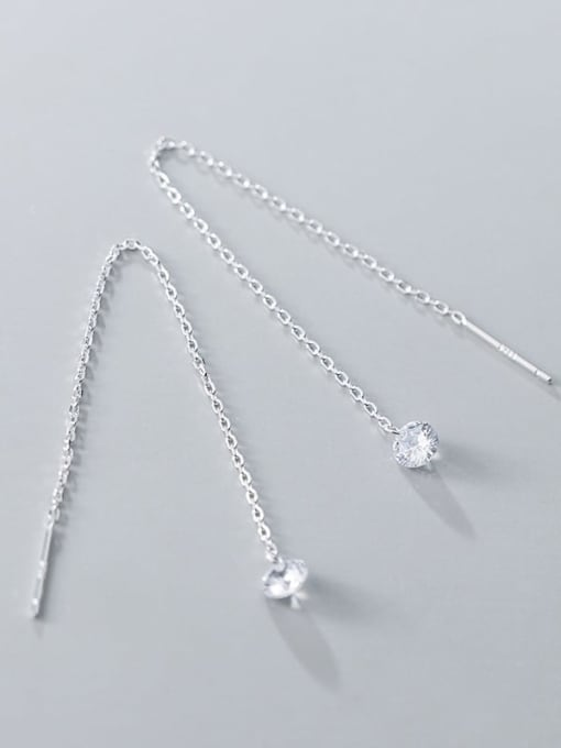 Rosh 925 Sterling Silver Cubic Zirconia Tassel Minimalist Threader Earring 1